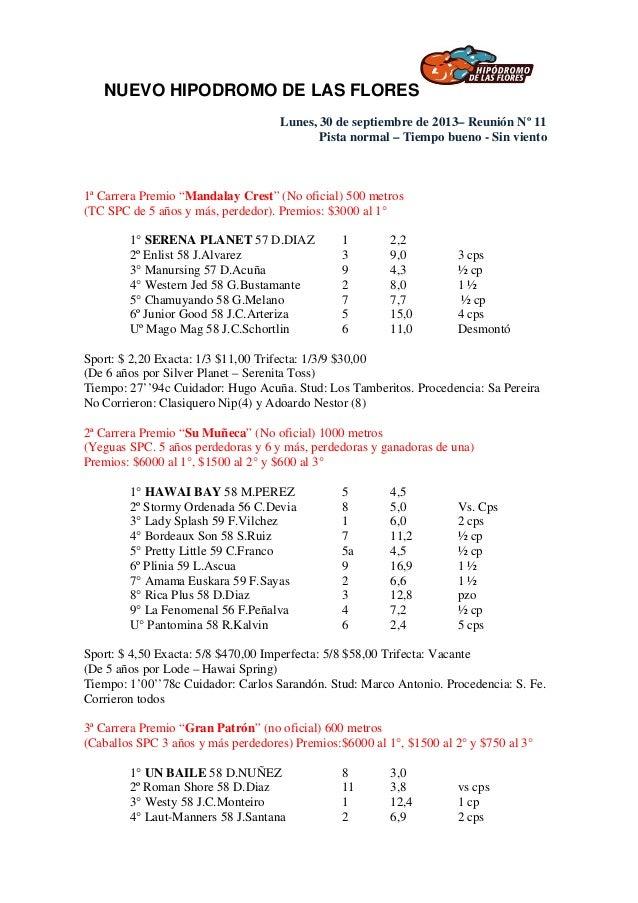 NUEVO HIPODROMO DE LAS FLORES Lunes, 30 de septiembre de 2013– Reunión Nº 11 Pista normal – Tiempo bueno - Sin viento 1ª C...