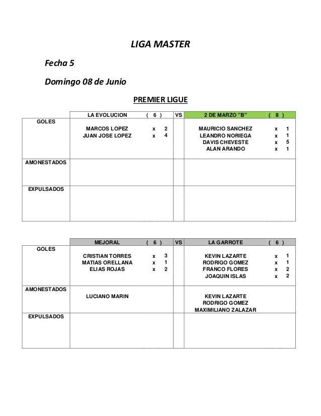 "LIGA MASTER Fecha 5 Domingo 08 de Junio PREMIER LIGUE LA EVOLUCION ( 6 ) VS 2 DE MARZO ""B"" ( 8 ) GOLES MARCOS LOPEZ x 2 MA..."