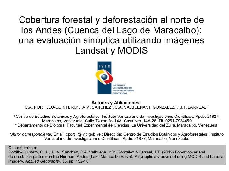 Cobertura forestal y deforestación al norte de      los Andes (Cuenca del Lago de Maracaibo):      una evaluación sinóptic...
