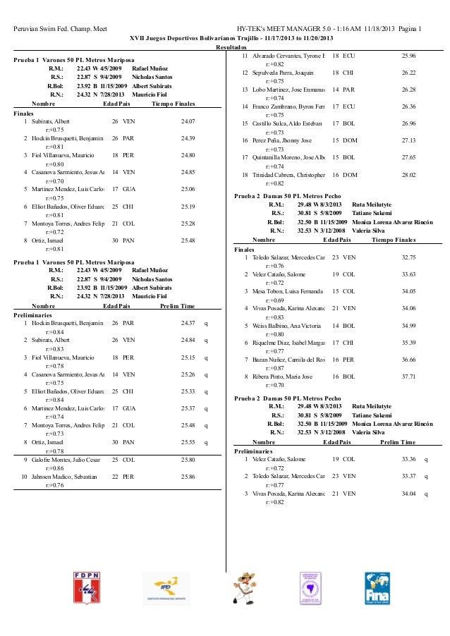 Peruvian Swim Fed. Champ. Meet  HY-TEK's MEET MANAGER 5.0 - 1:16 AM 11/18/2013 Pagina 1 XVII Juegos Deportivos Bolivariano...