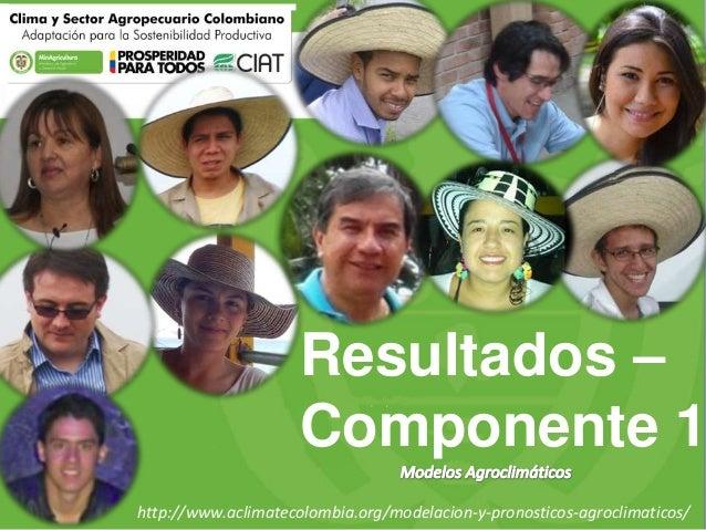 Resultados – Componente 1 http://www.aclimatecolombia.org/modelacion-y-pronosticos-agroclimaticos/