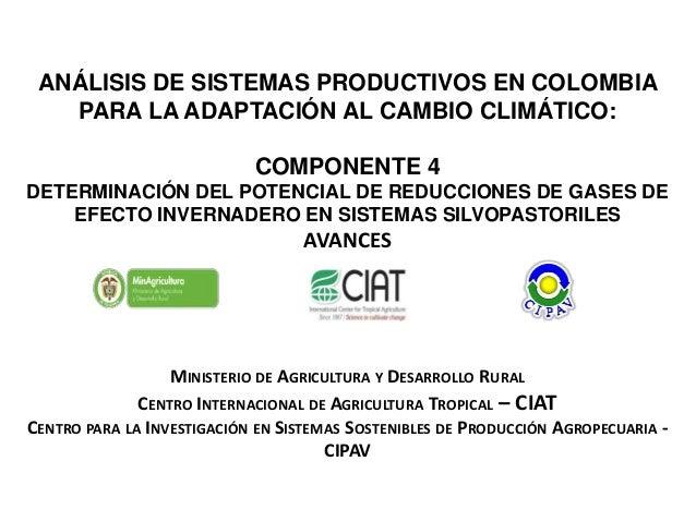 ANÁLISIS DE SISTEMAS PRODUCTIVOS EN COLOMBIA PARA LA ADAPTACIÓN AL CAMBIO CLIMÁTICO: COMPONENTE 4 DETERMINACIÓN DEL POTENC...