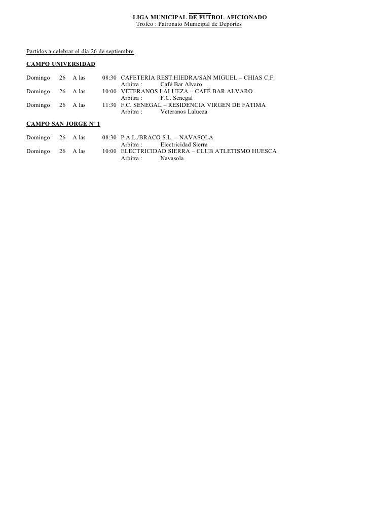 Resultados, clasificaciones y programación