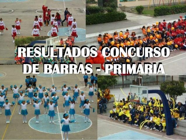 RESULTADOS CONCURSO DE BARRAS - PRIMARIA RESULTADOS CONCURSO DE BARRAS - PRIMARIA