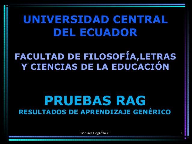 UNIVERSIDAD CENTRAL DEL ECUADOR FACULTAD DE FILOSOFÍA,LETRAS Y CIENCIAS DE LA EDUCACIÓN  PRUEBAS RAG  RESULTADOS DE APREND...