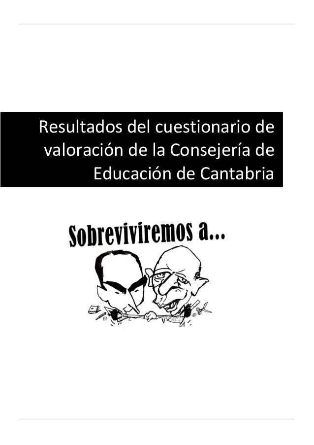 Resultados del cuestionario de valoración de la Consejería de Educación de Cantabria