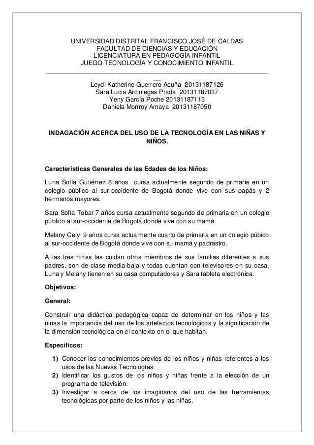 UNIVERSIDAD DISTRITAL FRANCISCO JOSÉ DE CALDAS FACULTAD DE CIENCIAS Y EDUCACIÓN LICENCIATURA EN PEDAGOGÍA INFANTIL JUEGO T...