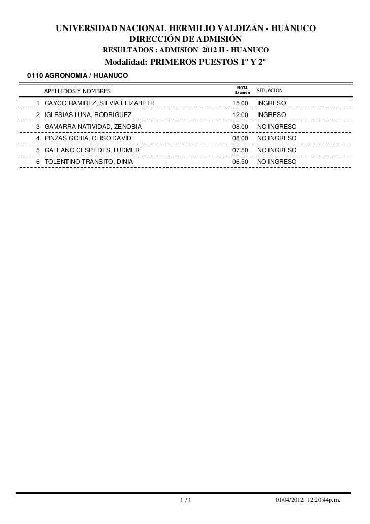 Resultados examen de modalidades 2012 II