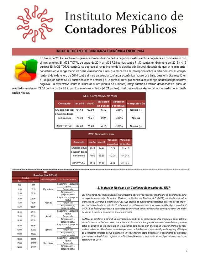ÍNDICE MEXICANO DE CONFIANZA ECONÓMICA ENERO 2014 En Enero de 2014 el sentimiento general sobre la situación de los negoci...