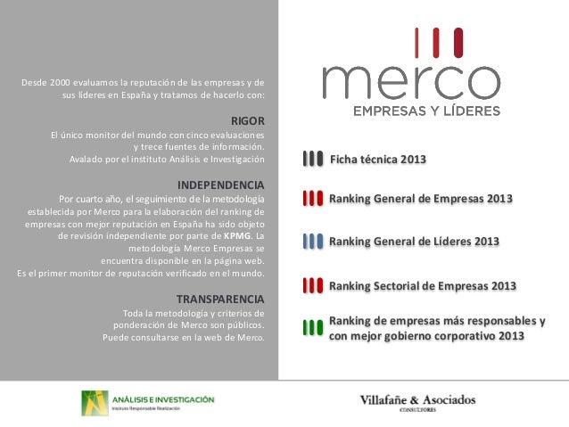 Desde 2000 evaluamos la reputación de las empresas y desus líderes en España y tratamos de hacerlo con:RIGOREl único monit...