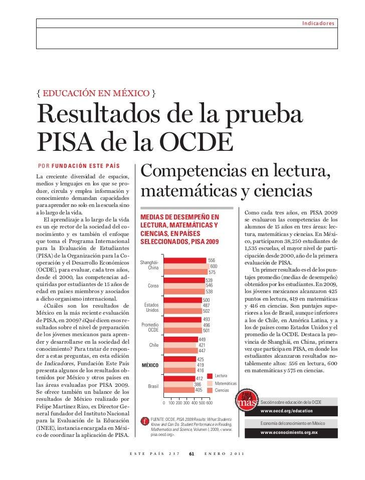 Indicadores{ Educación En méxico }Resultados de la pruebaPISA de la OCDEP OR F UNDACIÓN E S T E PA íSLa creciente diversid...