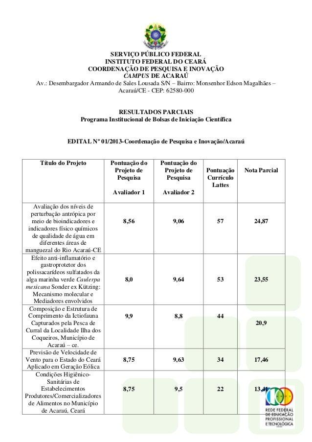 SERVIÇO PÚBLICO FEDERAL INSTITUTO FEDERAL DO CEARÁ COORDENAÇÃO DE PESQUISA E INOVAÇÃO CAMPUS DE ACARAÚ Av.: Desembargador ...