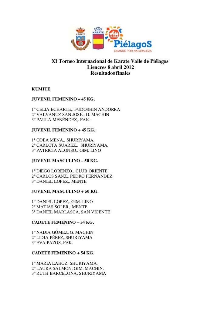 XI Torneo Internacional de Karate Valle de Piélagos                        Liencres 8 abril 2012                         R...