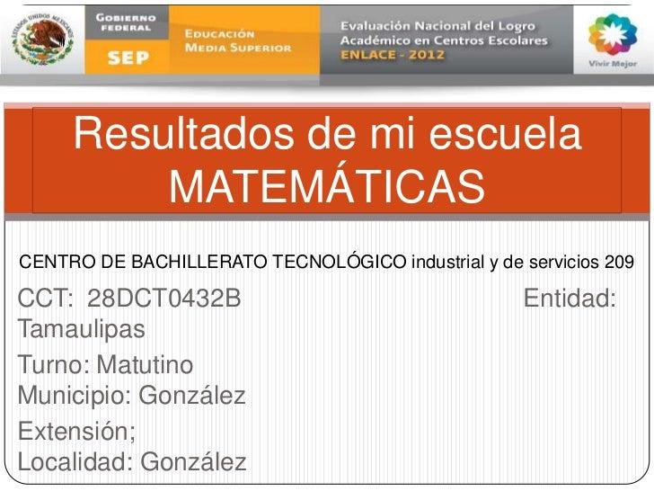 Resultados de Matemáticas de la Prueba ENLACE 2012 CBTis 209