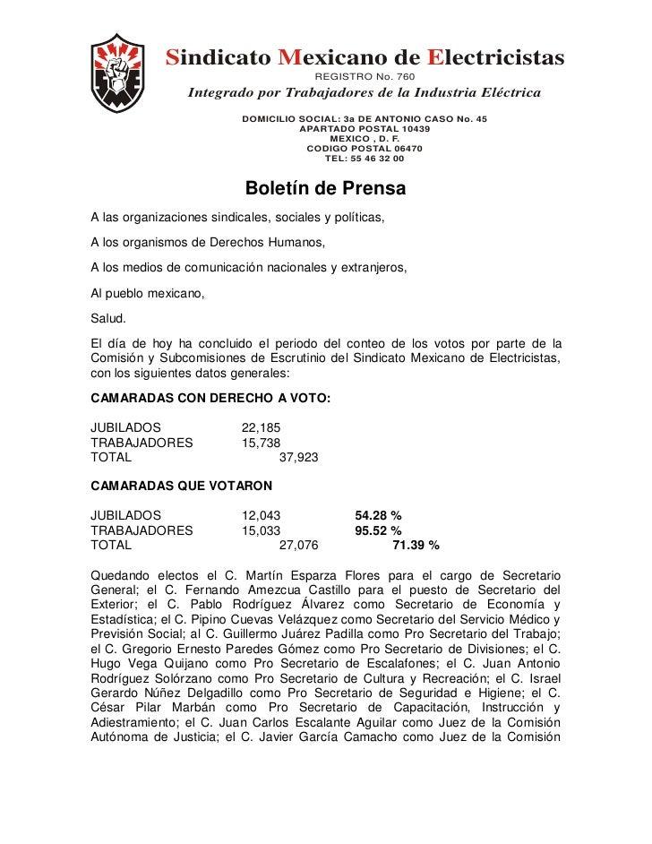 Sindicato Mexicano de Electricistas                                         REGISTRO No. 760                 Integrado por...