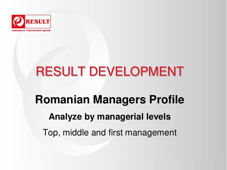 RESULT DEVELOPMENTRomanian Managers Profile  Analyze by managerial levels Top, middle and first management