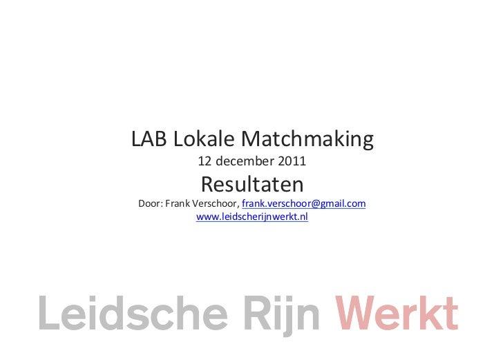 LAB Lokale Matchmaking                 12 december 2011                  Resultaten  Door: Frank Verscho...