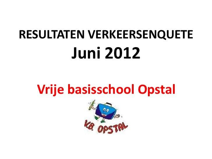 RESULTATEN VERKEERSENQUETE       Juni 2012  Vrije basisschool Opstal