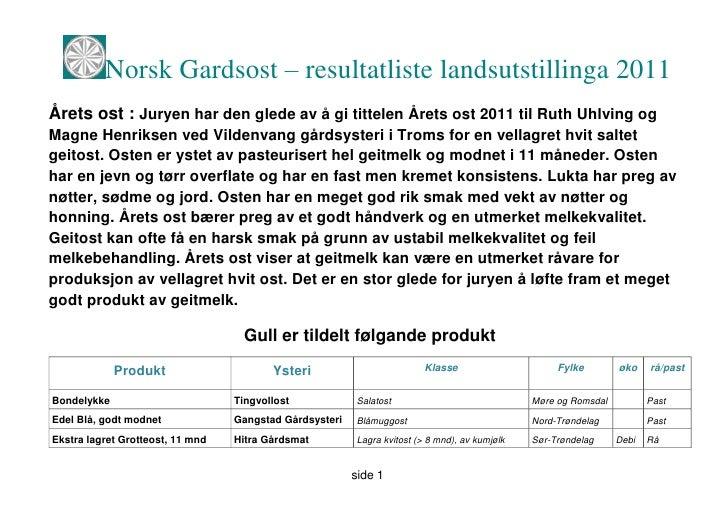 Norsk Gardsost – resultatliste landsutstillinga 2011Årets ost : Juryen har den glede av å gi tittelen Årets ost 2011 til R...