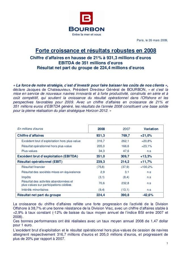1 Paris, le 26 mars 2009, Chiffre d'affaires en hausse de 21% à 931,3 millions d'euros Forte croissance et résultats robus...