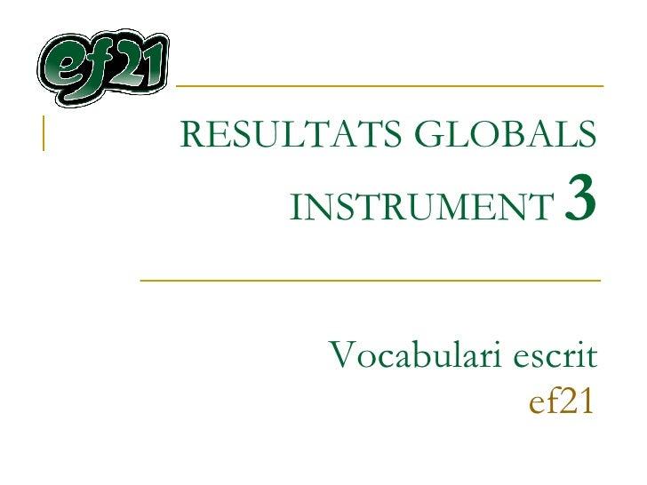 RESULTATS GLOBALS INSTRUMENT  3 Vocabulari escrit ef21
