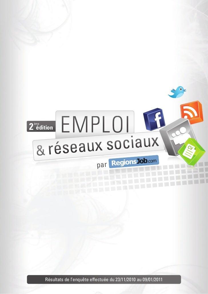 Enquête RegionsJob : emploi et réseaux sociaux, deuxième édition