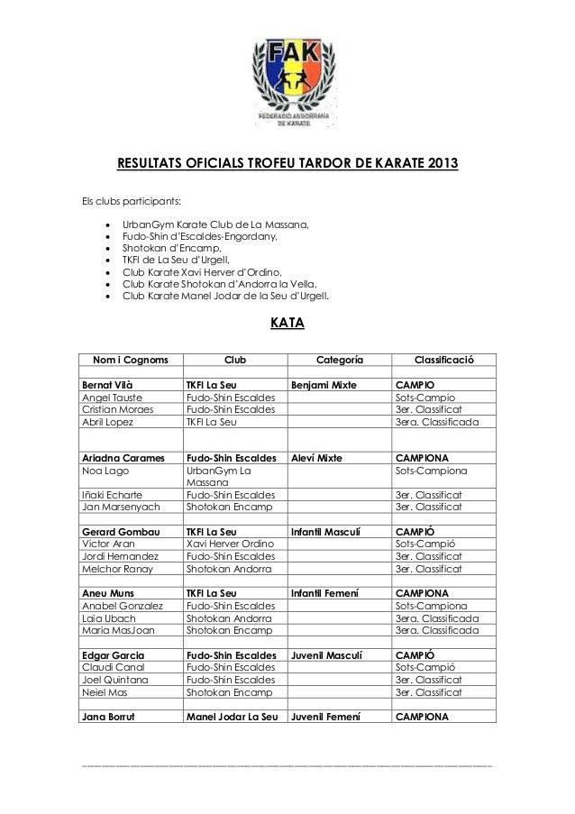Resultats oficials tardor 2013 fak