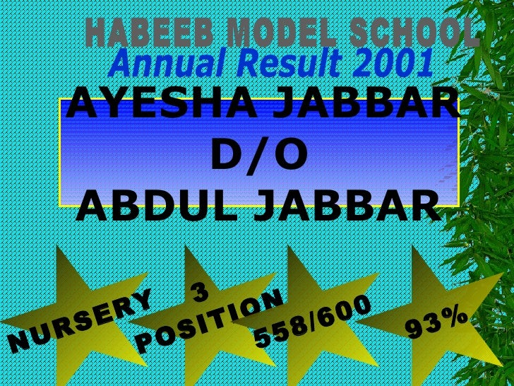 HABEEB MODEL SCHOOL Annual Result 2001 NURSERY 3 POSITION 558/600 93% AYESHA JABBAR D/O ABDUL JABBAR