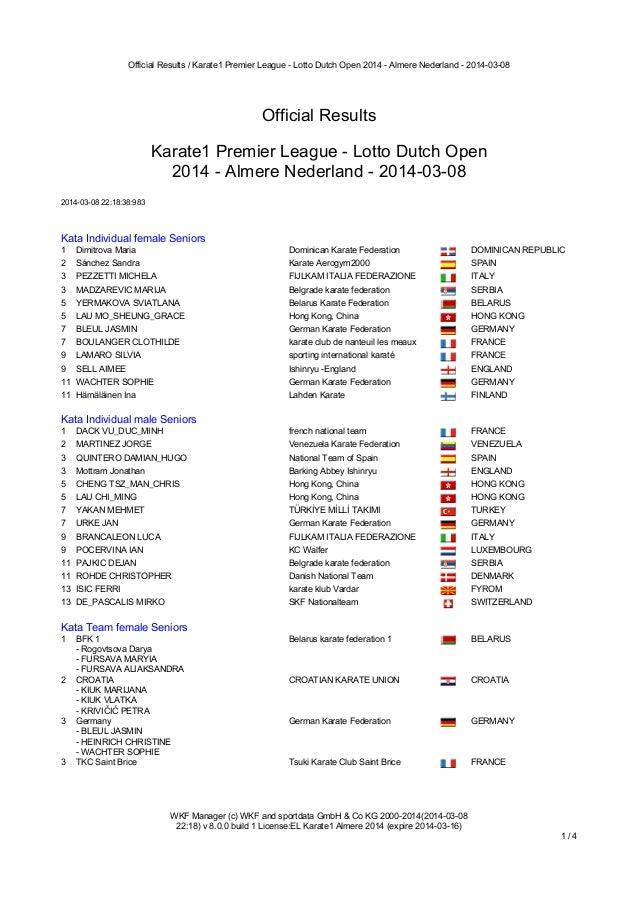 Official Results / Karate1 Premier League - Lotto Dutch Open 2014 - Almere Nederland - 2014-03-08  Official Results Karate...