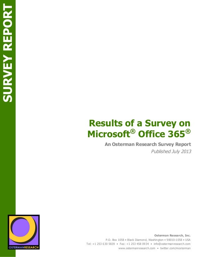 Survey Report: Results of a Survey on Microsoft Office 365