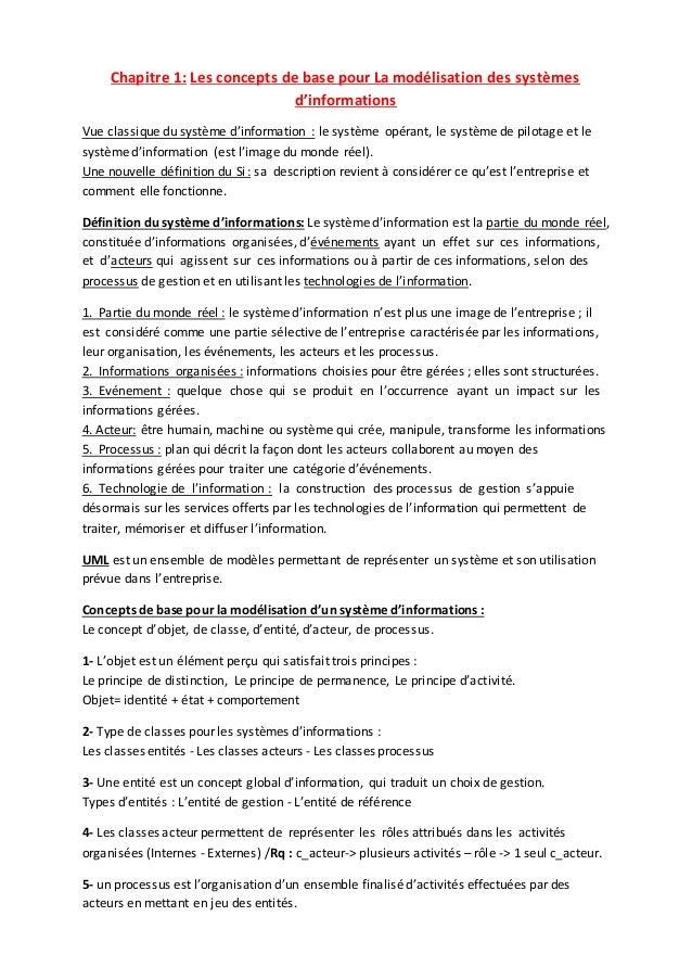 Chapitre 1: Les concepts de base pour La modélisation des systèmes d'informations Vue classique du système d'information :...