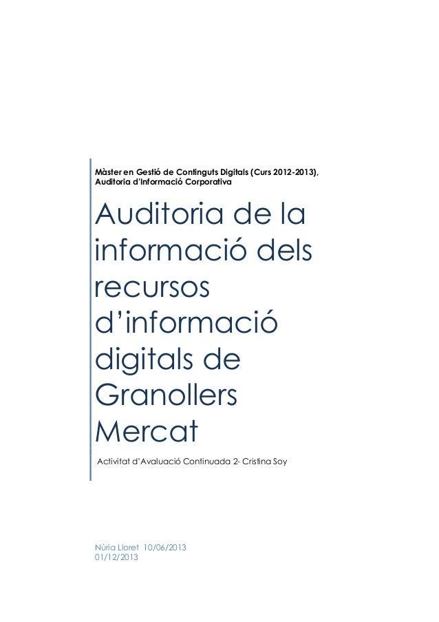 Màster en Gestió de Continguts Digitals (Curs 2012-2013), Auditoria d'Informació Corporativa  Auditoria de la informació d...
