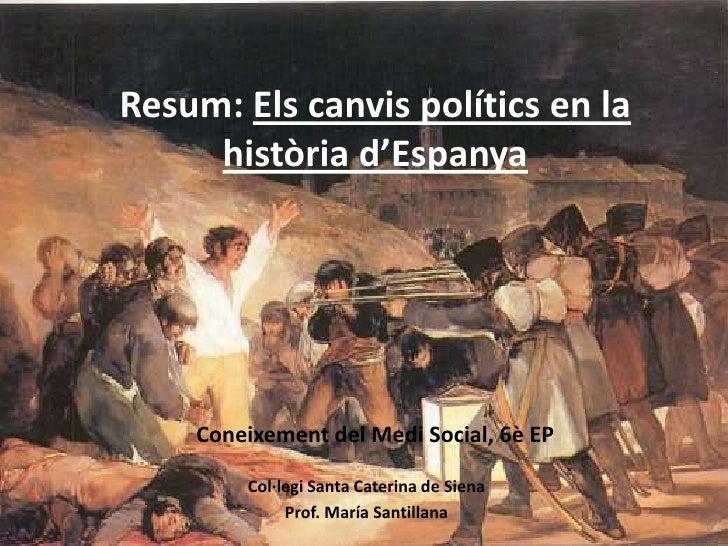 Resum: Els canvis polítics en la     història d'Espanya    Coneixement del Medi Social, 6è EP        Col·legi Santa Cateri...