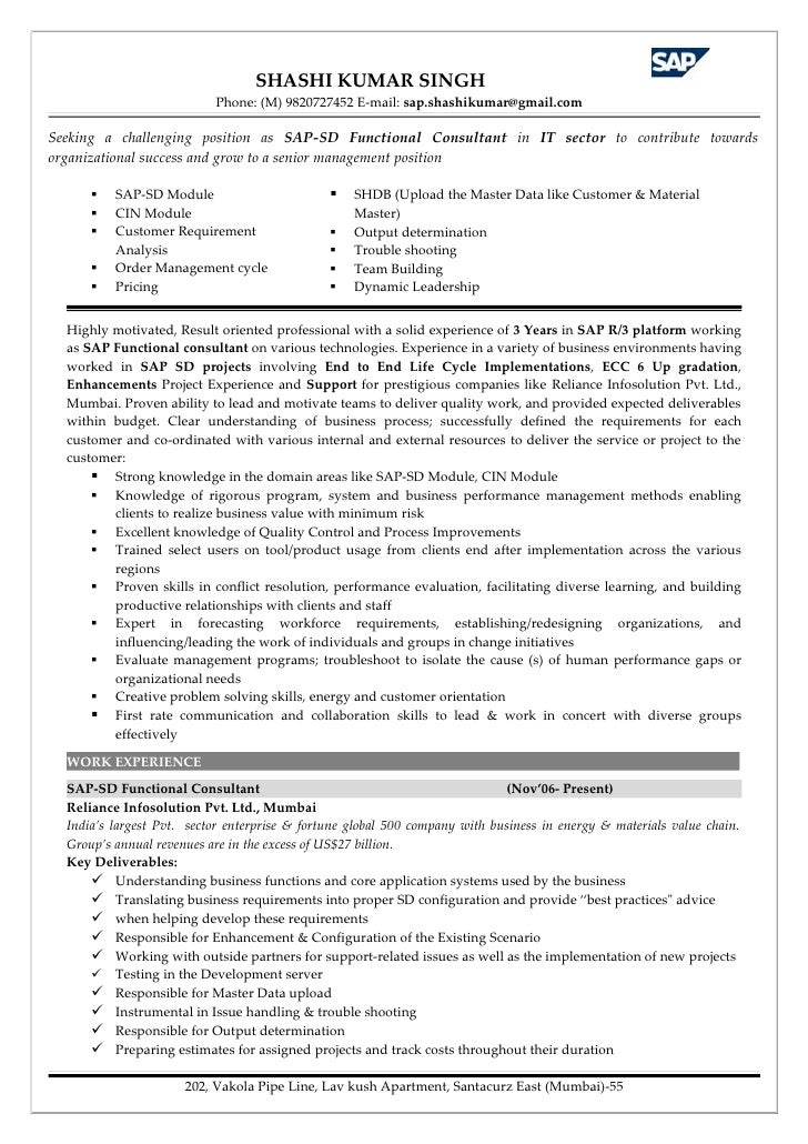 resume format for sap sd consultant resume format