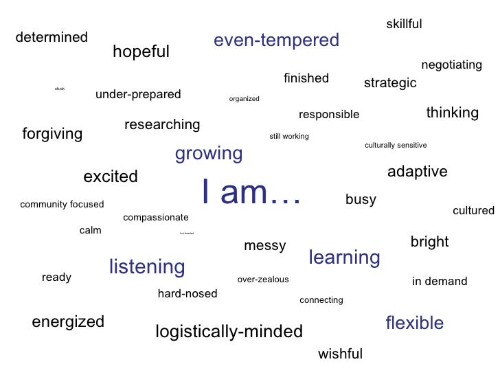 I am… stuck organized still working culturally sensitive over-zealous connecting community focused compassionate calm in d...