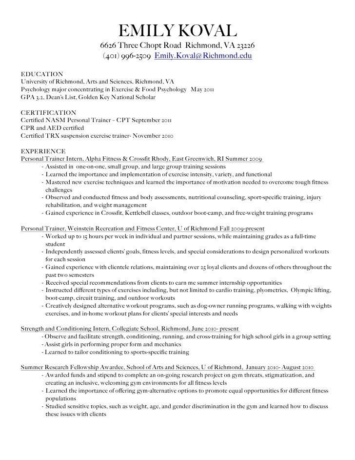 Personal Trainer Resume Example P O Box On Resume
