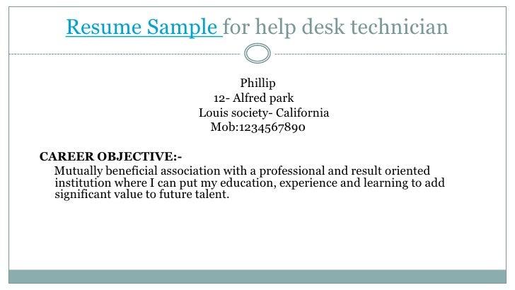 Resume Sample for help desk technician<br />                                                                    Phillip<br...
