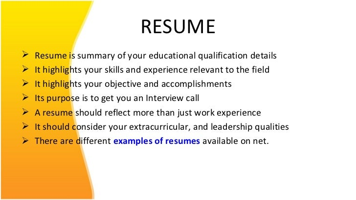 Resume ppt for Free