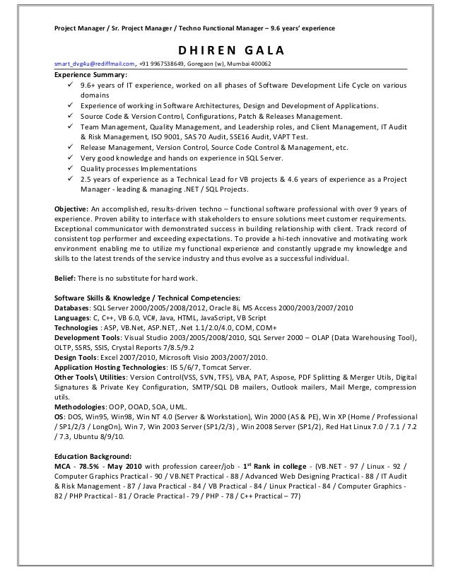 Project Manager / Sr. Project Manager / Techno Functional Manager – 9.6 years' experience                                 ...