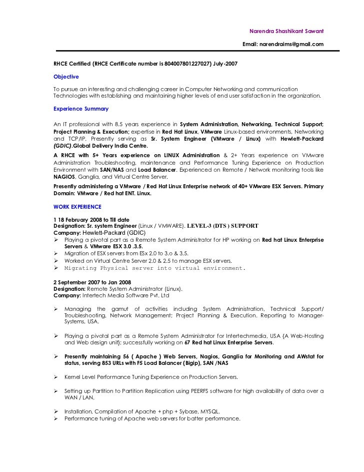 Harish Resume Linux Fresher Rhce Resume Sample  System Administrator Resume Sample