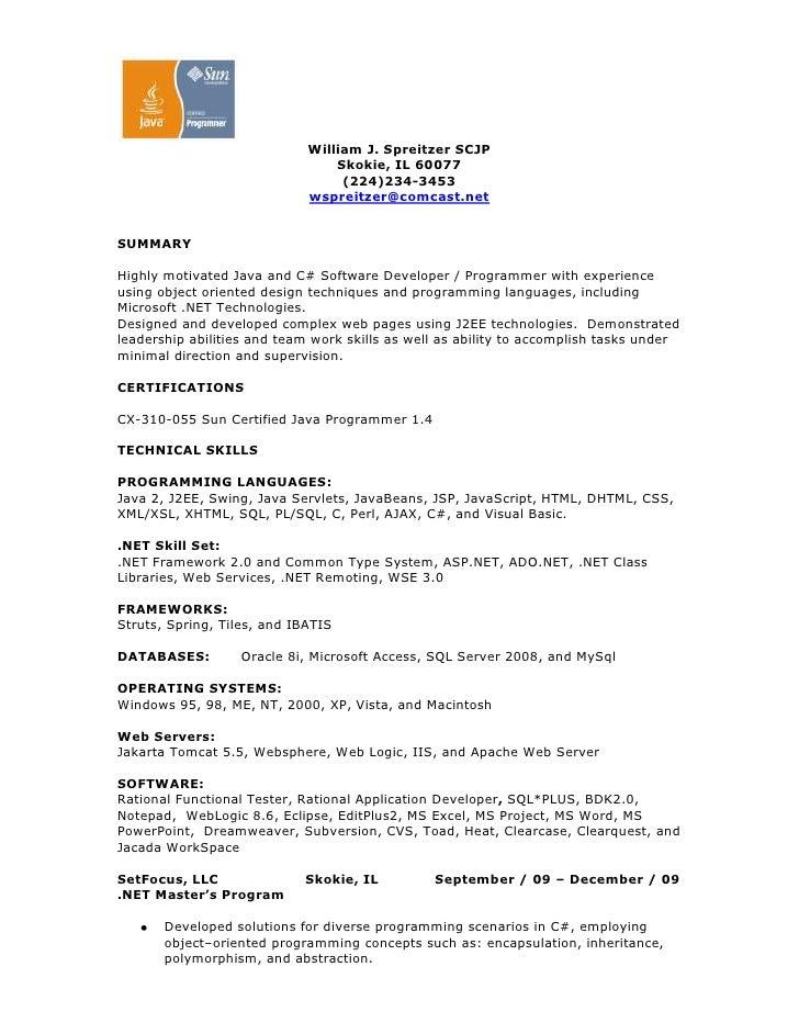 william j spreitzer scjp skokie il 60077 224 234 3453 wspreitzer - Java Developer Resume