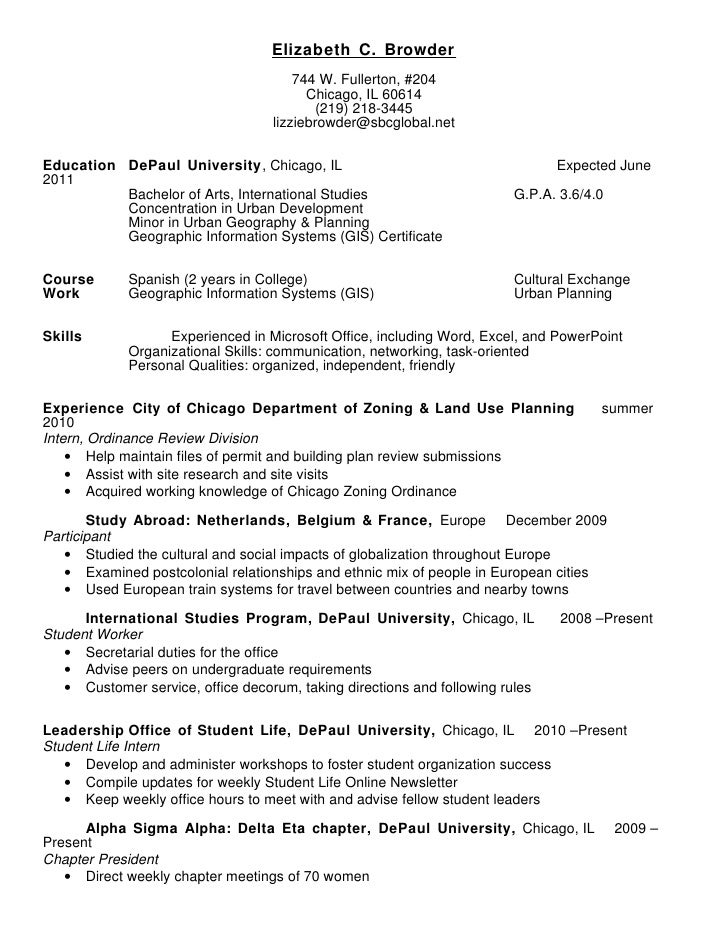 sorority resume samples