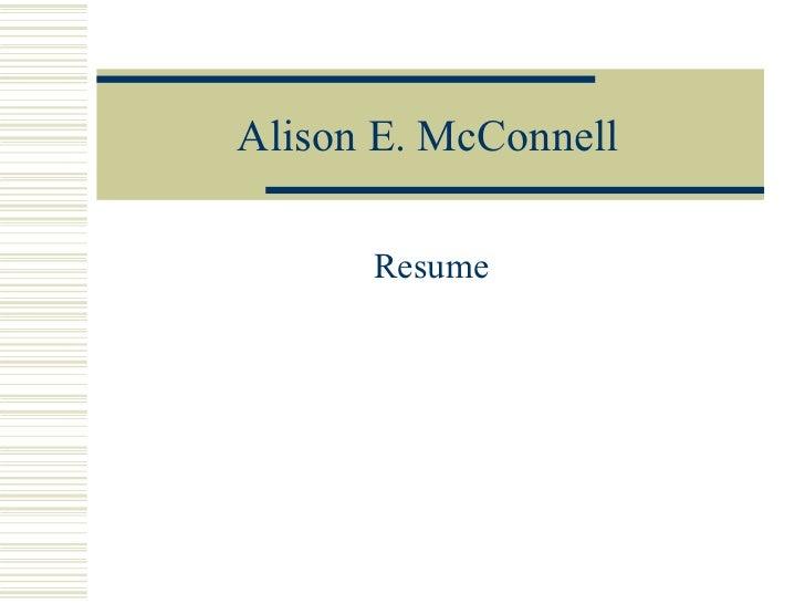 Alison E. McConnell Resume