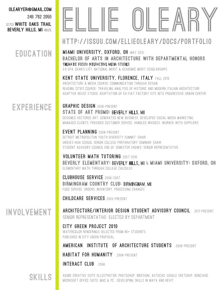 resume format  resume format for architecture students