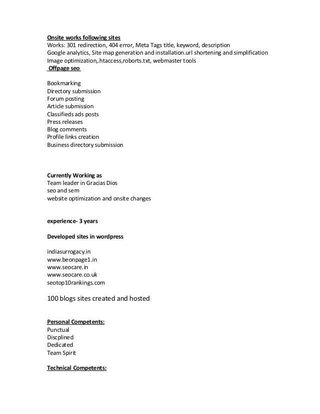 Seo team leader resume format