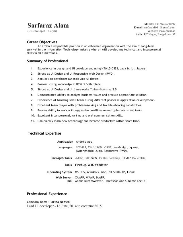 Ui Developer Resume Cover Letter