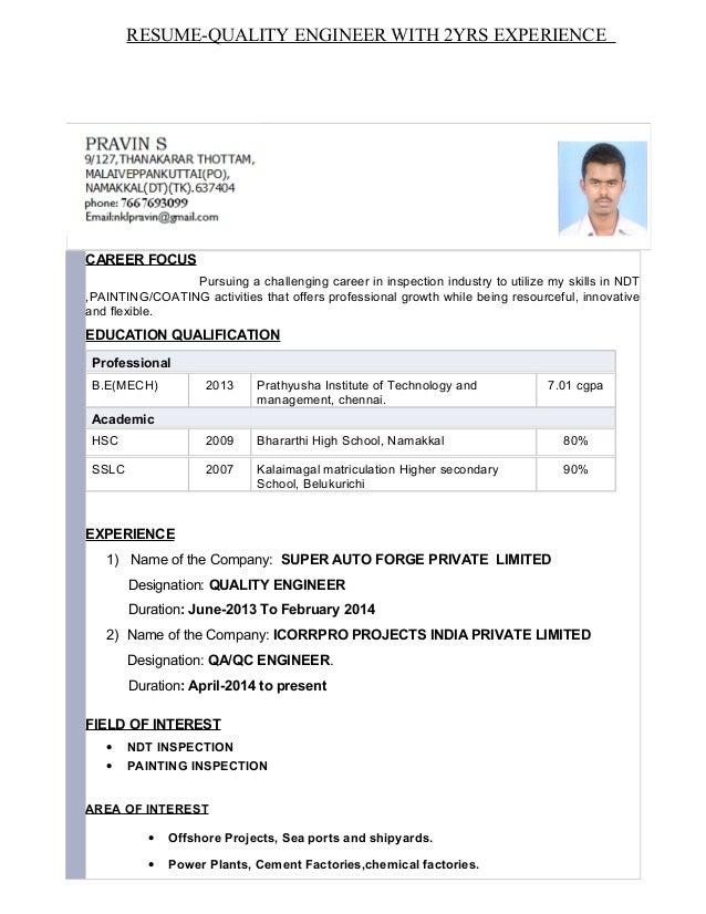 Resume-QA/QC PAINTING INSPECTOR
