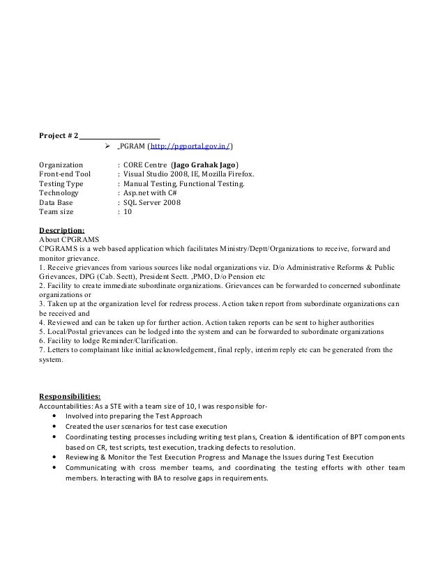 Bpt testing resume