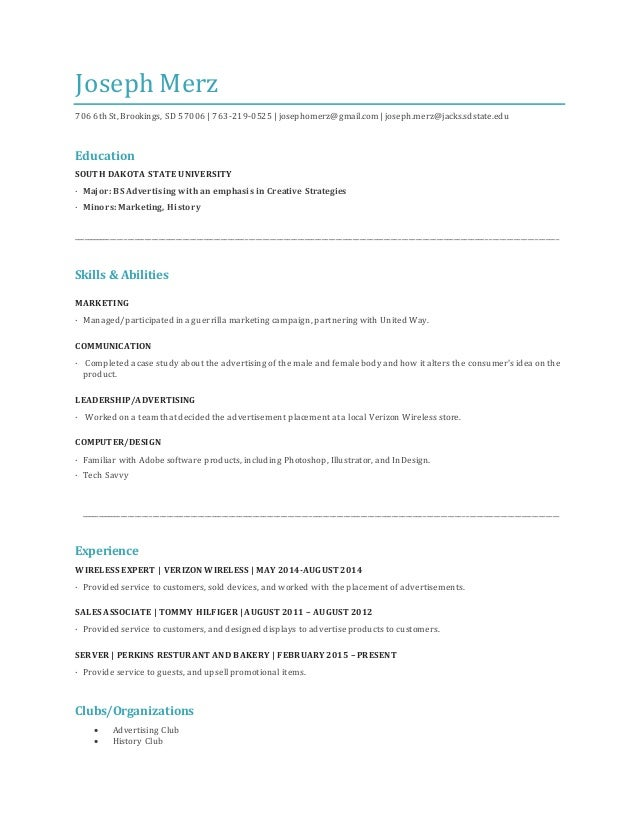 Education spot on resume