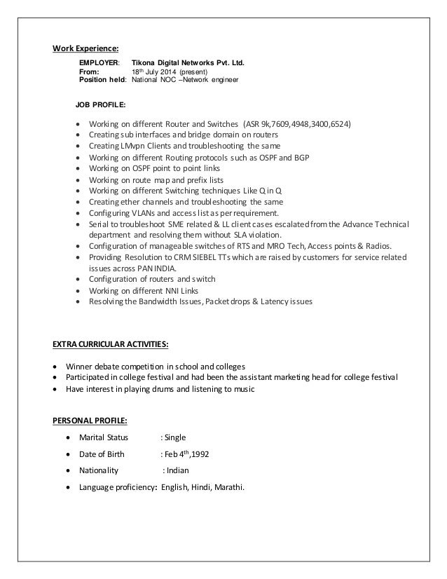 28 noc engineer resume sle career objectives for